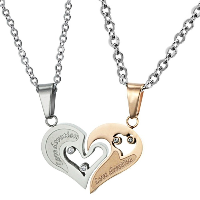 7b2c48230b His and Her Matching Necklaces Set For Couple Stainless Steel Jewelry Split  Heart Pendant Necklace For Lovers DLQ