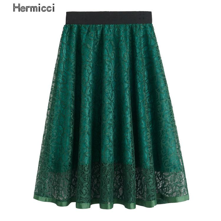 2017 Summer Hollow Out Lace Vintage Floral Embroideried Skirts Womens Tutu Skater Skirt Elegant High Waist Midi Ball Gown