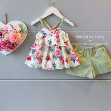 Baby Girl Clothing Sets Vest+Shorts For Girl Summer Style Sleeveless Floral Print Kids Clothes Toddler Girls Suit  2-7Ages  1