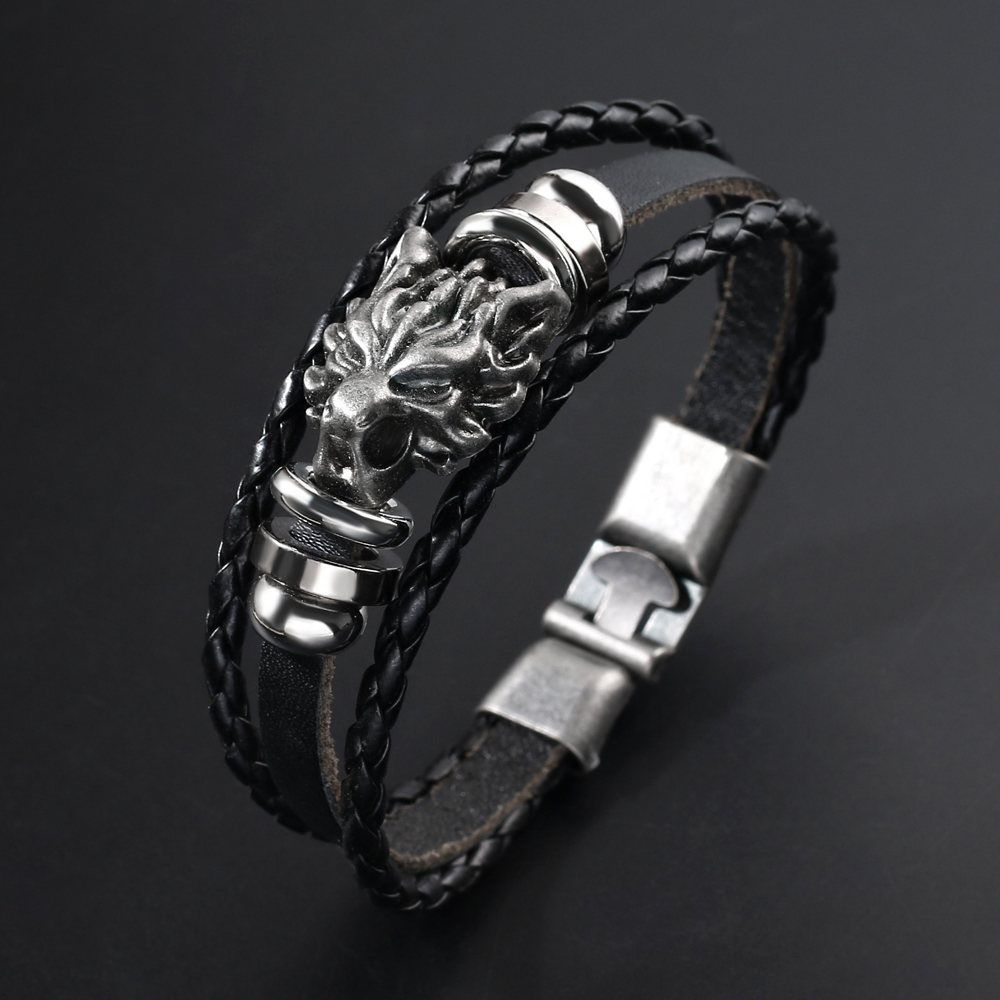 Mens Leather Dragon Head Charm Bracelet