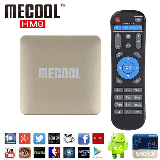 MECOOL S905X HM8 Android 6.0 Caixa De TV Amlogic 64 Bit Quad Core 4 K & 2 K H.265 VP9 2.4 GHz WiFi DDR3 1 GB eMMc 8 GB Miracast Smart TV caixa