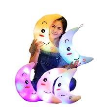 38*28*15 см Moon подушка, плюшевые игрушки Симпатичные светящаяся Подушка игрушка Светодиодная лампа Подушка светятся в темноте плюшевая кукла-подушка игрушки