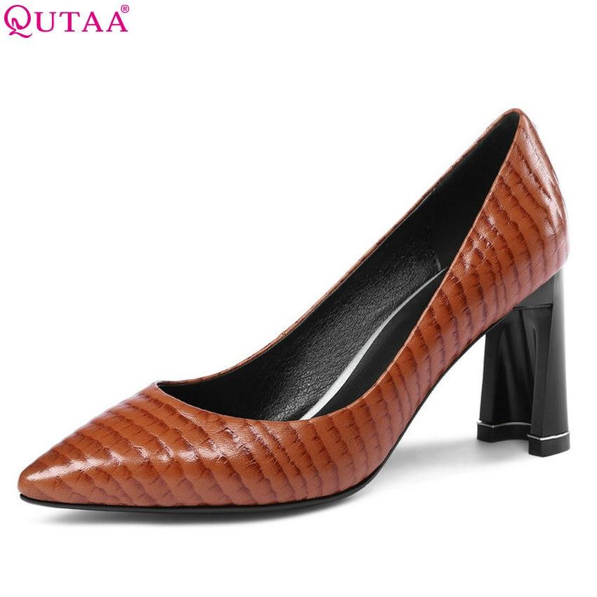 QUTAA 2018 Women Pumps Allmatch Fashion Women Shoes Platform Slip on Sheep-skin Pointed Toe Sexy Ladies Pumps Size 34-43 qutaa 2018 women pumps ladies shoes