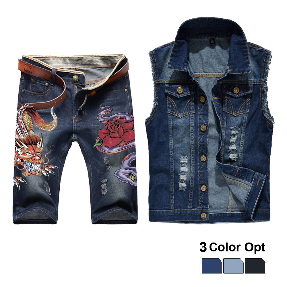 Men Jean Vest Jacket Set Retro Ripped Destroyed Skinny Hole Top Denim Short Pants 1/2 Trousers Summer Beach Wear Snake Monster