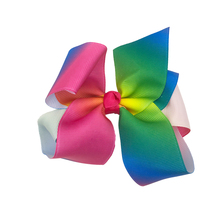 100pcs/lot Rainbow Floral Desgins Kids Ribbon Hair Bow Baby GirlsHair Accessories Without Clip Kidocheese
