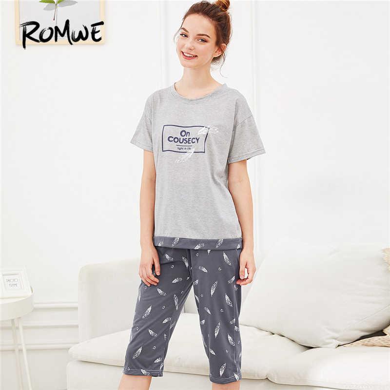 f936f415a6 ROMWE Multicolor Feather Letter Print Pajama Set Women Round Neck Short  Sleeve Sleepwear 2019 Summer Female