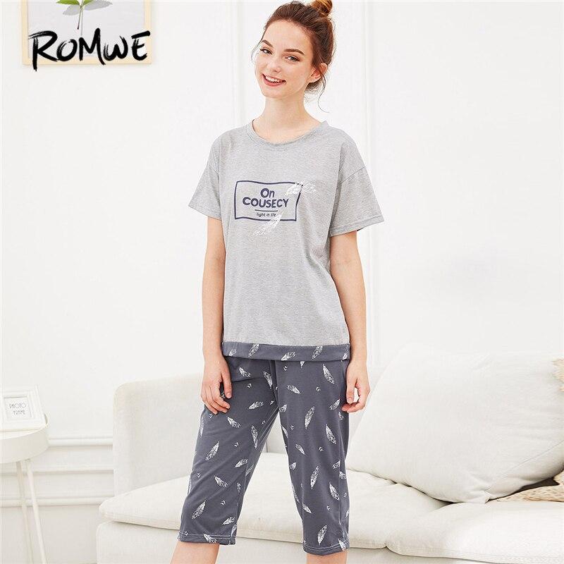 ROMWE Multicolor Feather Letter Print Pajama Set Women Round Neck Short Sleeve Sleepwear 2019 Summer Female Casual Nightwear