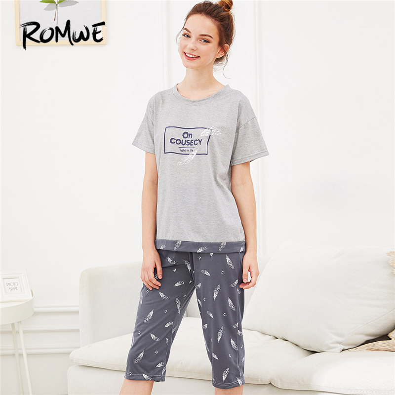 ROMWE Multicolor Feather Letter Print   Pajama     Set   Women Round Neck Short Sleeve Sleepwear 2019 Summer Female Casual Nightwear