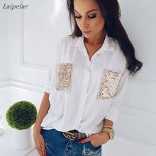 Fashion Women shirt Casual Long Sleeve Chiffon chest sequined pocket long sleeve Blouses Loose female Tops Blouse Laipelar