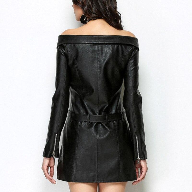 2018 Black Automne Robe Mode Pu Vêtements Asymétrie Bd325 Ceintures Irrégulière Femme Nouveau Section ewq La Pour Cou Zipper Slash À De Longue Sexy dnSCxqZB