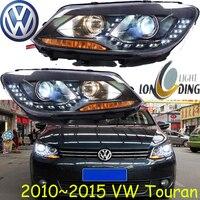 Car Styling Touran Headlight 2011 2016 Free Ship Chrome Touran Fog Light Chrome LED 2ps 2pcs