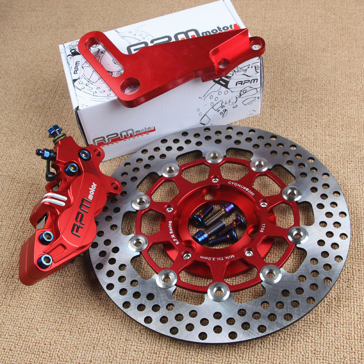 Modification Motorcycle 220/260mm Hydraulic Disc Rear Brake System Set For Honda Yamaha Kawasaki Suzuki Dirt Bike Scooter Modify keoghs motorcycle hydraulic brake system 4 piston 100mm hf2 brake caliper 260mm brake disc for yamaha scooter cygnus x modify