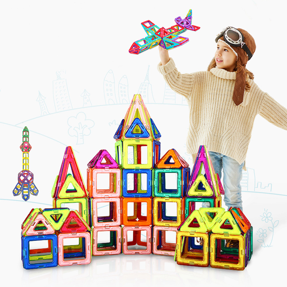 Ucanaan122PCS/SET Magnetic Designer Construction Set Model & Building Toy Enlighten Plastic Model Kits Educational Toys for Kids 62pcs set magnetic building block 3d blocks diy kids toys educational model building kits magnetic bricks toy