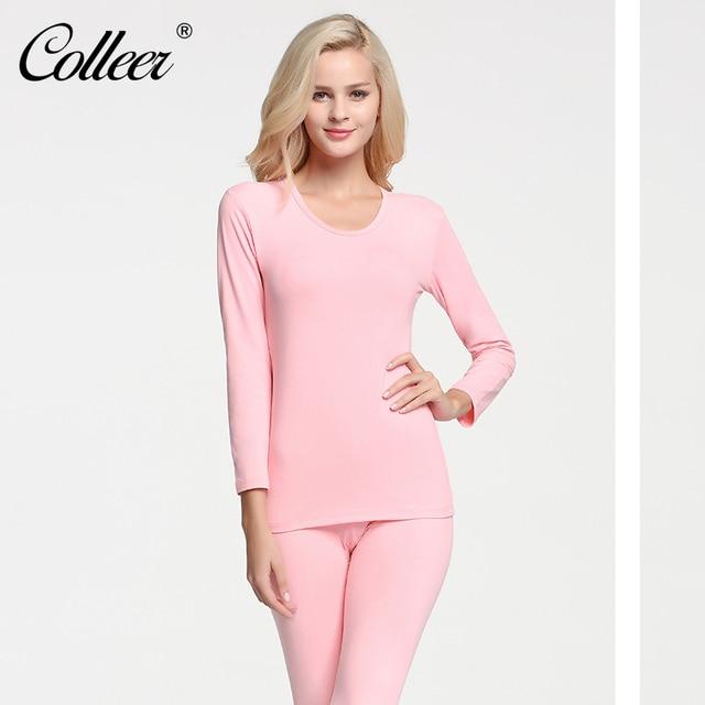 098bc32cc5b COLLEER Thermal Underwear Women Winter Thickening Wool Warm Long Johns Sets  Sexy Round Low Collar Slim