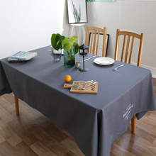 Blue Tablecloth European Simplicity Modern Table Cloth Mat Alphabet Rectangular Western Cafe Cotton Table Covers Table(China)