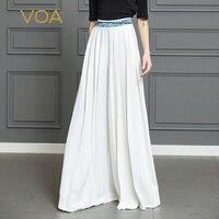 VOA шелк брюки палаццо Для женщин макси длинные широкие брюки свободные белые офисные Высокая Талия Повседневное плюс Размеры 5XL Hosen Damen K365
