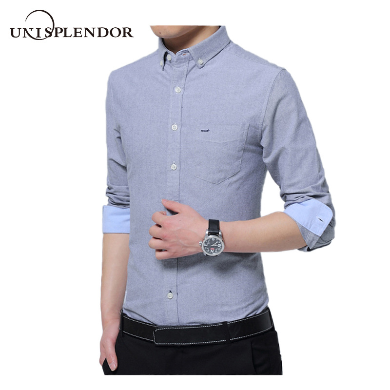 Unisplendor 100%Cotton Men Shirt Long Sleeve Solid Mens Business Dress Shirts Soft Slim White Party Wedding Man Shirts YN10481