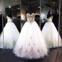 Lange Prom Dresses 2018 Sweetheart Kralen Gold Kant Floor Lengte Afrikaanse Party Wit Tulle Prom Dress