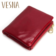 Oil Wax Leather Wallet TAUREN High Quality 100% Genuine Leather Women Mini Wallet Coin Purse Coin Credit Card Holder цена в Москве и Питере
