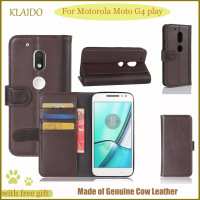 KLAIDO Genuine Leather Mobile Phone Case For Motorola Moto G4 Play Flip Case For Motorola Moto