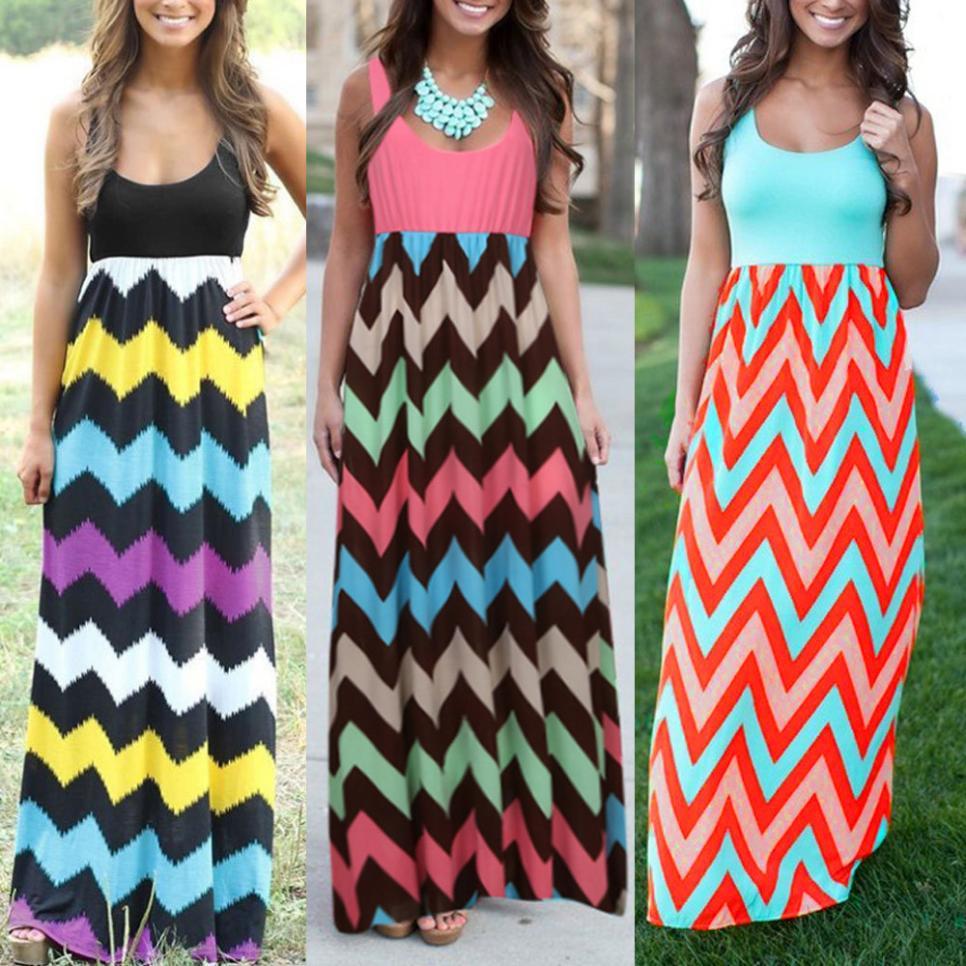 Plus Size Women Summer Beach Boho Maxi Dress 2018 High Quality Brand Striped Print Long Dresses Feminine sarafan female summer 1