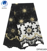 BEAUTIFICAL black guipure lace fabric french mesh dress flower embroidered for lady 5yards/piece DPN616