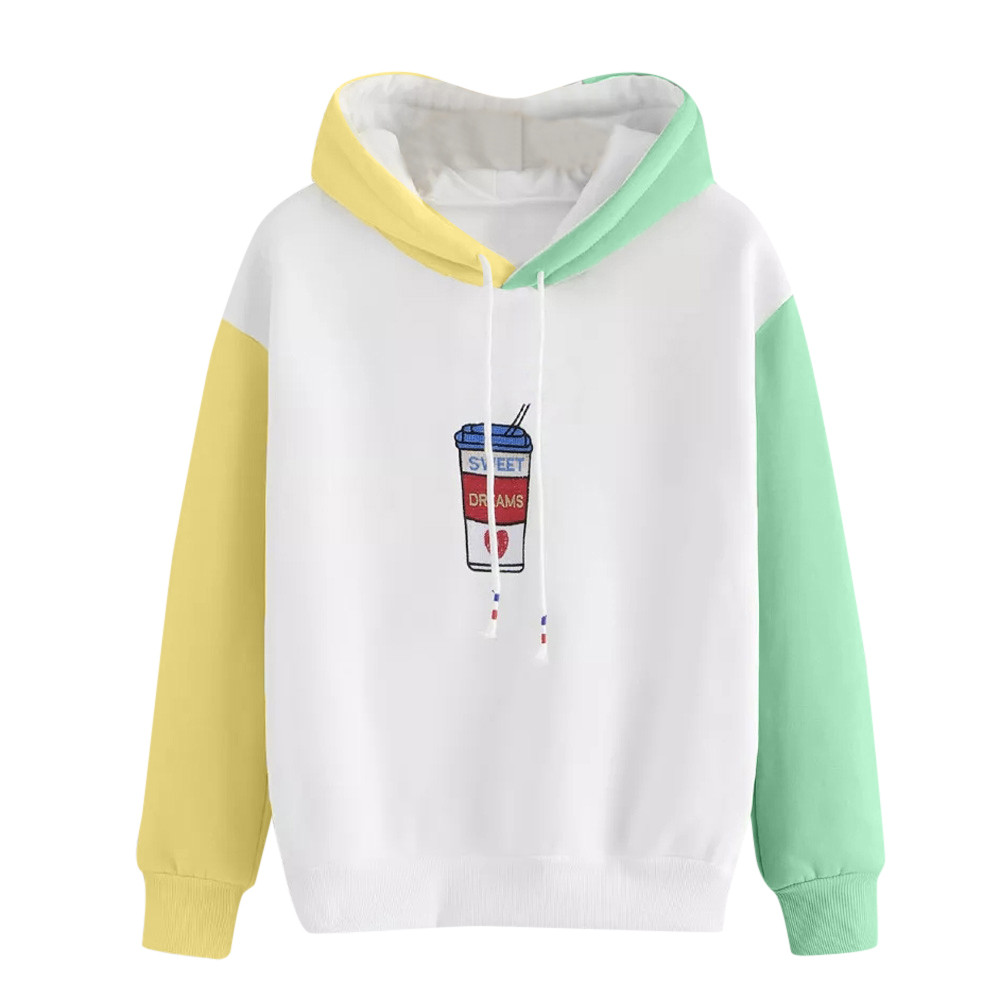 US $11.09 26% OFF|Womens Hoodie Coffee Cup Embroidery Sweatshirt Autumn Long Sleeve Color Block Drawstring Hoody Girls Pullover #L in Hoodies &