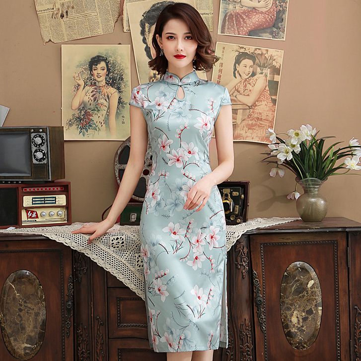 Женское платье в китайском стиле с воротником «Мандарин», светло голубое винтажное платье Ципао, сатиновое платье с цветочным принтом, боль