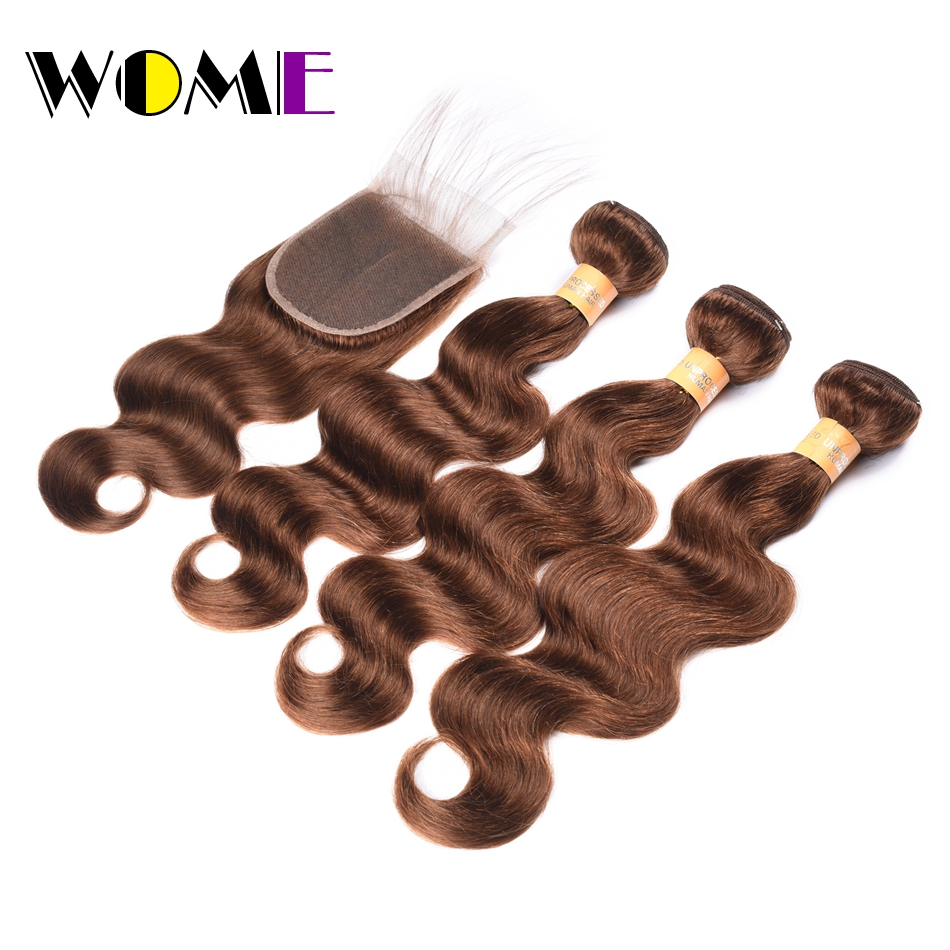 WOME HAIR 4# Indian Hair Body Wave 3 Bundles With Closure Non-Remy Indian Body Wave Human Hair Bundles With Closure 4*4 Free