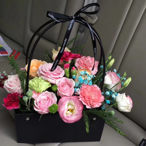 Image 5 - PVC Bouquet Flower gift Boxes Round Living Vases Florist Box Flower Plant Boxes Gift flower box  gift bags with handles