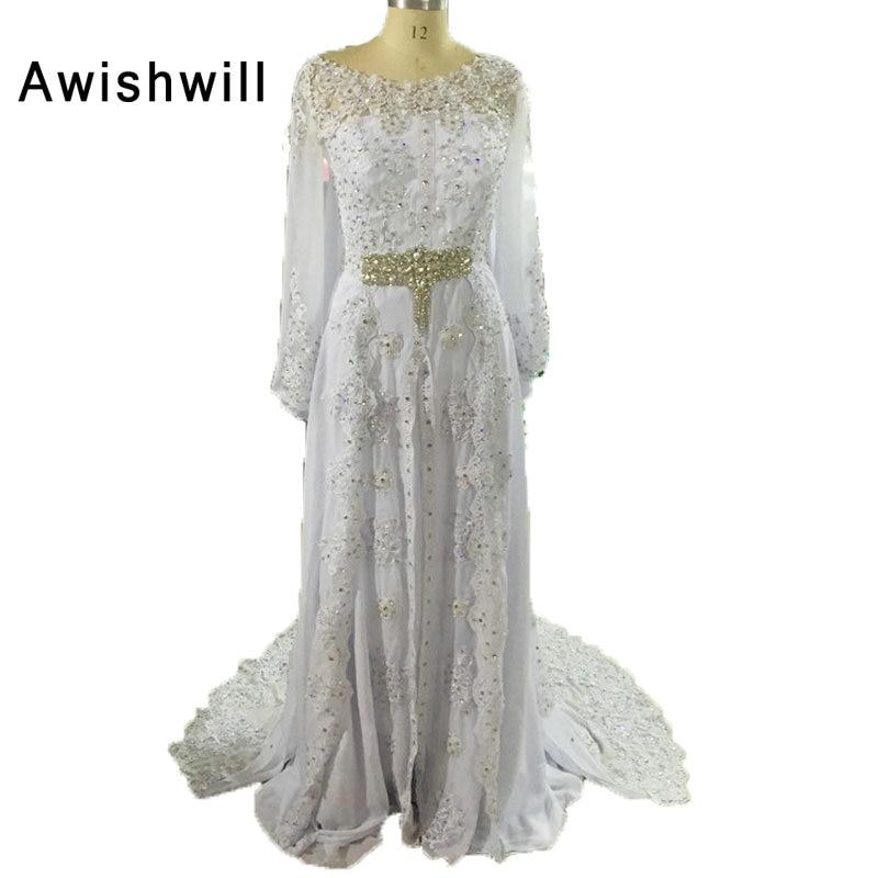 100% real photo Marokkaanse kaftan jurk lange mouwen kralen kant - Jurken voor bijzondere gelegenheden - Foto 6
