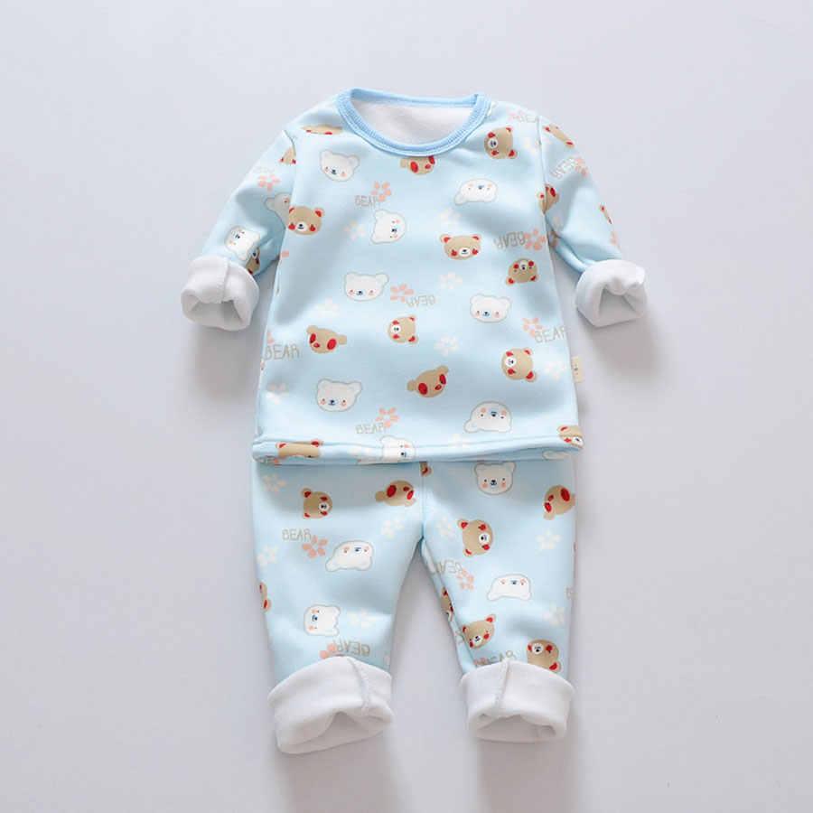 בנות פיג 'מה סט חורף תינוק חם קטיפה עיבוי ארוך שרוולים חולצות + חליפת מכנסיים 2pcs ילדי ילדי בגדי סט ילד פיג' מה