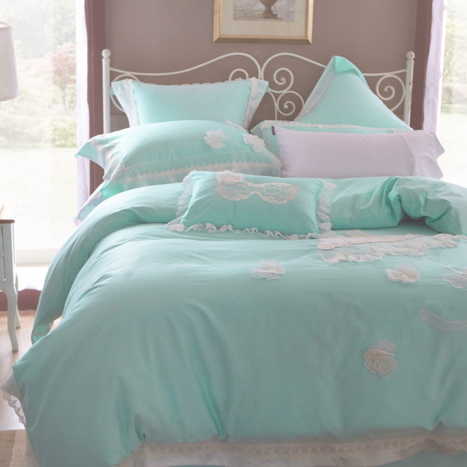 Light blue bedding - 100 Egyptian Cotton Light Blue Lace Duvet Cover Set Queen King Size Bedding Set Princess Duvet Cover Bed Sheets Pillow Case