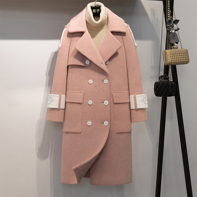 2018 Korean Pink Elegant Coats Large Pocket Long Coat Retro Wool Jacket For Women Wide-waisted Double Breasted Winter Coat Women