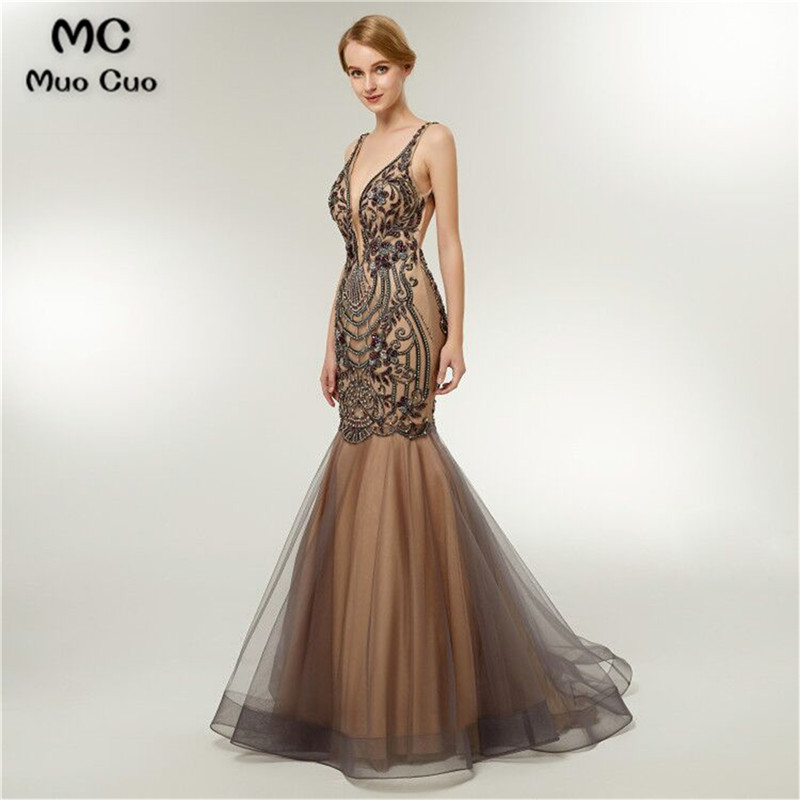 2018 Elegant Mermaid   Prom     dresses   Long with Beaded Crystals Vestidos de fiesta Tulle   dress   for graduation Evening   Prom     Dresses