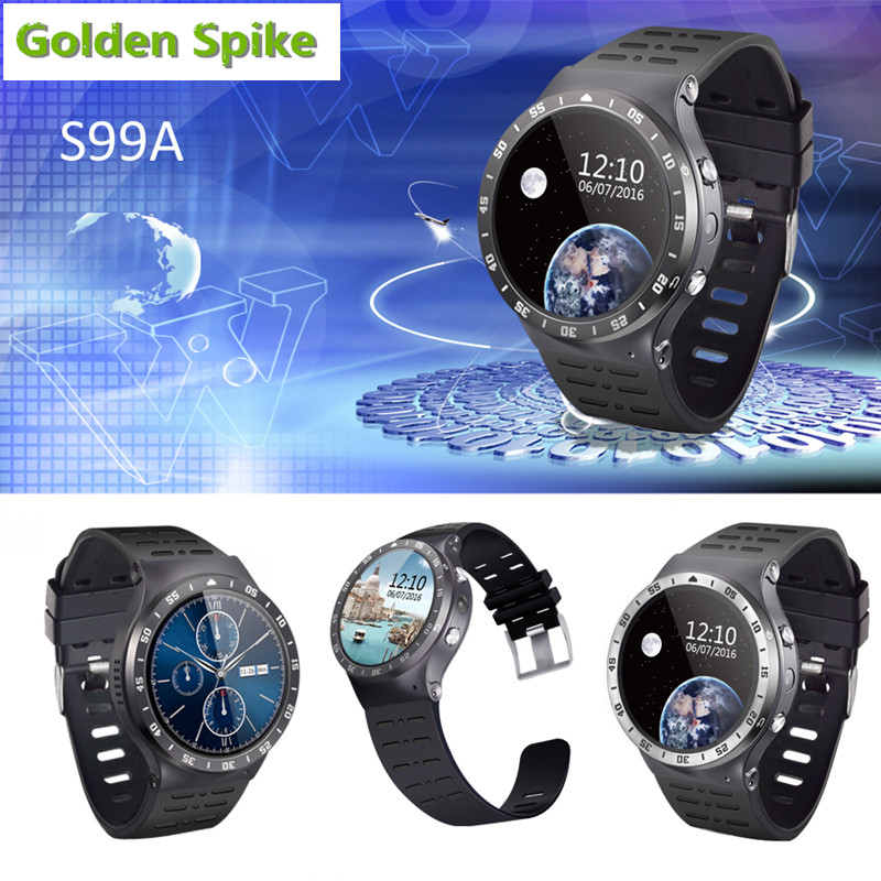 GoldenSpike S99A Quad Core 3G Smart Watch Android 5.1 512RAM 8GB ROM GPS WiFi Bluetooth V4.0 MTK6580 SmartWatch pk kw88 X5 D5+ huadoo v3 ip68 waterproof quad core android 4 4 3g smartphone w 4 0 wifi nfc 8gb rom bluetooth