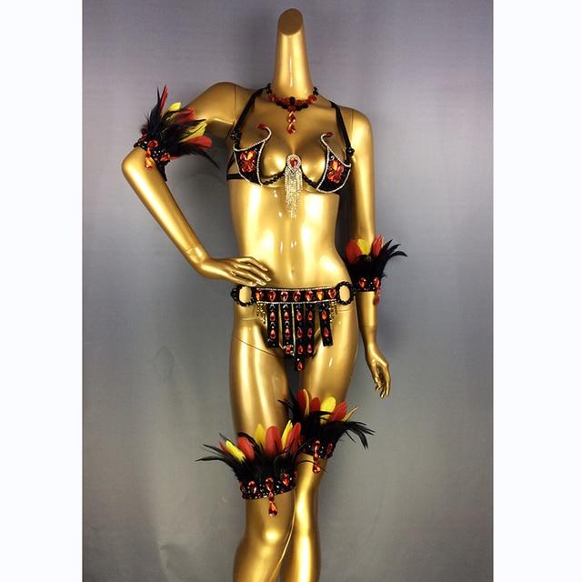 Livraison gratuite nouveau design haut grade femmes danse du ventre Samba Carnivel RIO cristal soutien-gorge Costume tenue Showgirl danseur costume C017