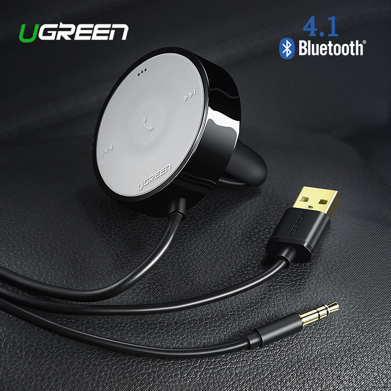UGREEN Bluetooth Receiver 4.1 Wireless 3.5mm Adapter Handsfree Bluetooth Car Kit Bluetooth Audio Receiver untuk Speaker Mobil Stereo