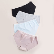 3pieces 2019 New Seamless Underwear Women Girl Nylon One-piece Traceless Ice Silk Briefs for Panties Solid TOP