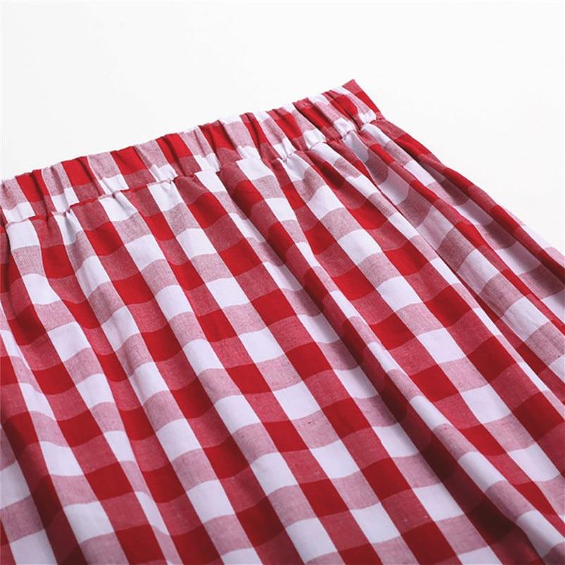 New Fashion 2018 Summer style skirts womens Plaid Casual Ruffled Button Party Slit High Waist Mid-Calf Skirt Femme Saia Y18#N (11)