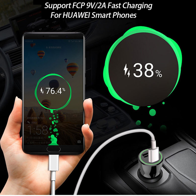 QC3.0 Fast Car Charger Auto Smart LED Adapter For HUAWEI P20 Mate 10 20 Lite Nova 2 2s 3 3E Honor 8 9 10 8X 7C 7X V8 V9 V10 PRO
