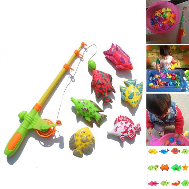 2018 New cheapest bath toy Fashion Baby BathBaby Magnetic Fishing Fish Model Net Game Fun Toy Kid Children Baby Bath Time