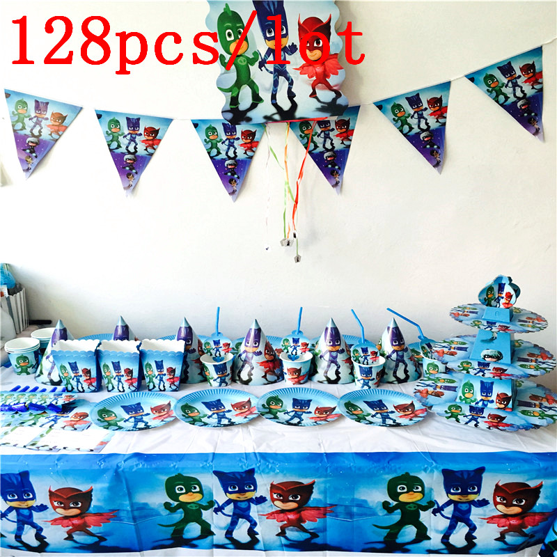 Cartoon Pj Masks Theme 128Pcslot Kids Favors Plates Birthday Party Baby Shower Flag Tablecloth Cups Decoration Banners Supplies