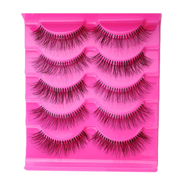 5 Pairs Natural Sparse Cross Extension Beauty Makeup Long Fake False Eyelashes Thick Beam Eyelashes