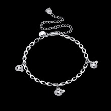 Pet Cat head Anklets feet wear charm romantic 925 original Silver Creative life safe chains For girls Jewelry Gift free a190