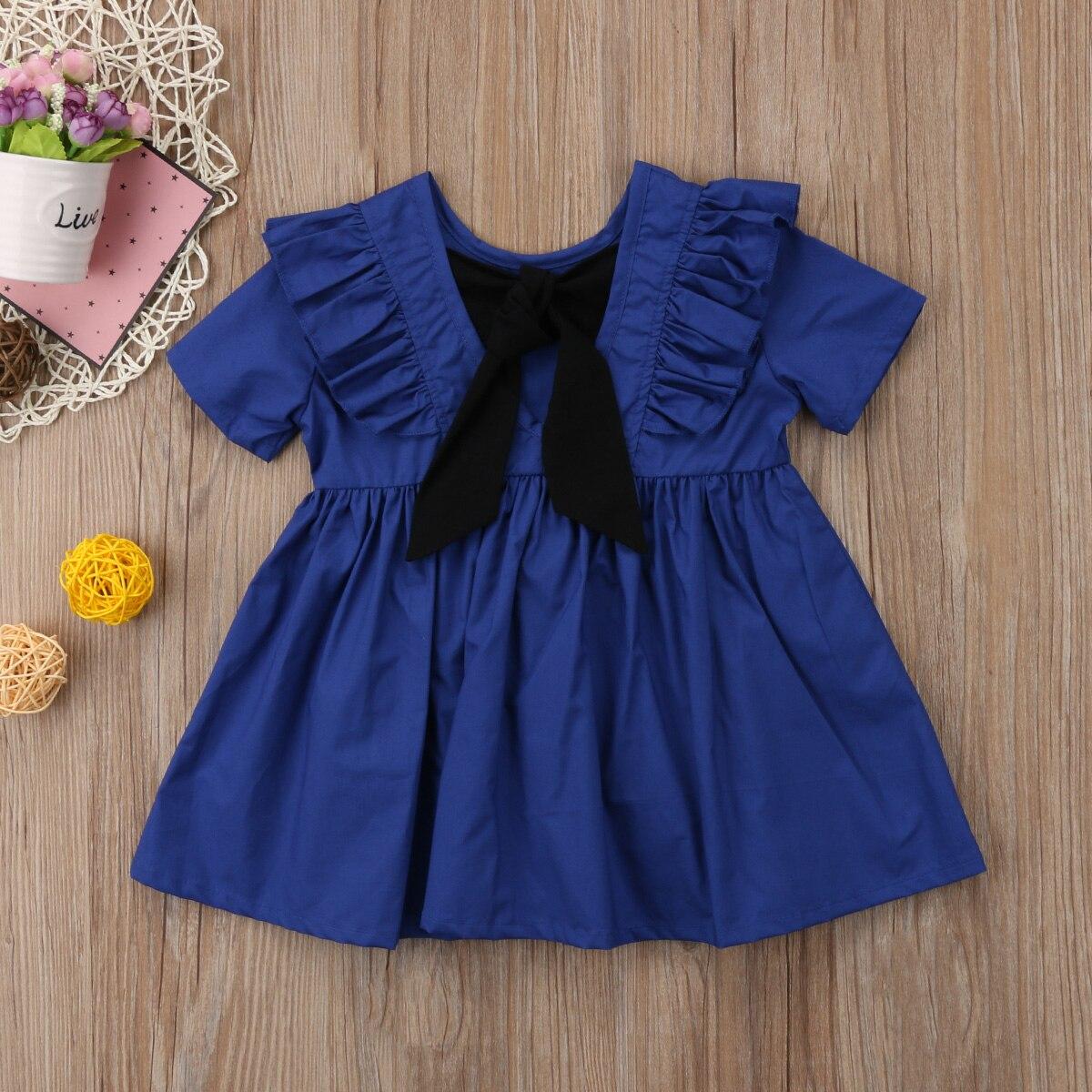 Cute Newborn Baby Girl Kid Party A-Line Dress Spring Summer Short Sleeve Ruffle Vintage Lace Sundress