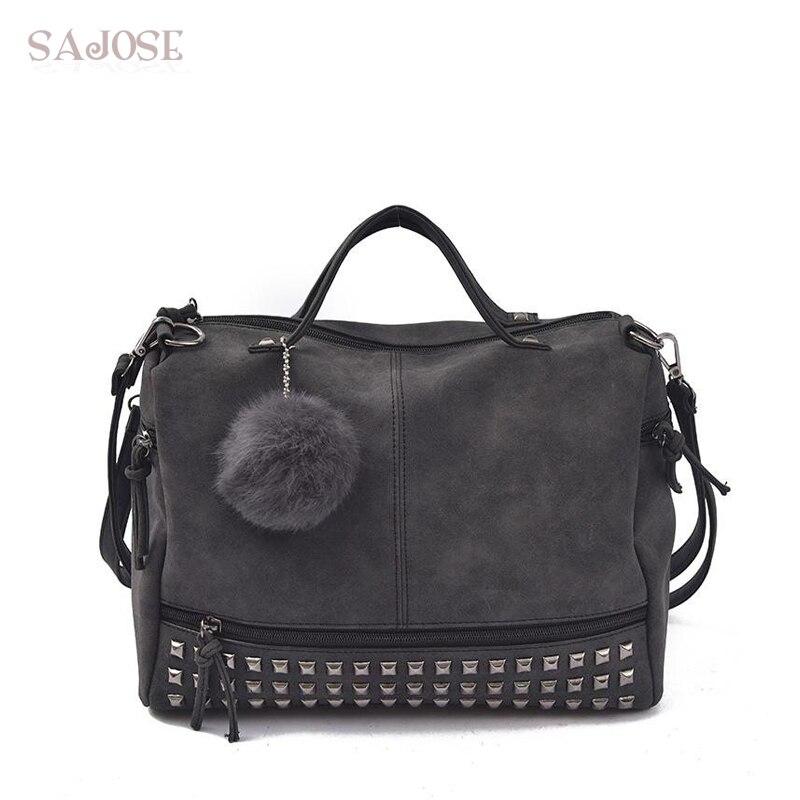 Vintage Nubuck Leather Female Top-handle Bags Rivet Larger Women Shoulder Bag Hair Ball Motorcycle Messenger Bags Drop Shipping