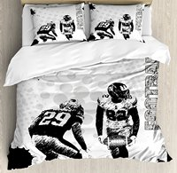Sports Duvet Cover Set Grungy American Football Image International Team World Cup Kick Play Speed Victory