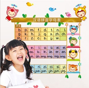 Three generations of letter doll wall stickers child real marouflage