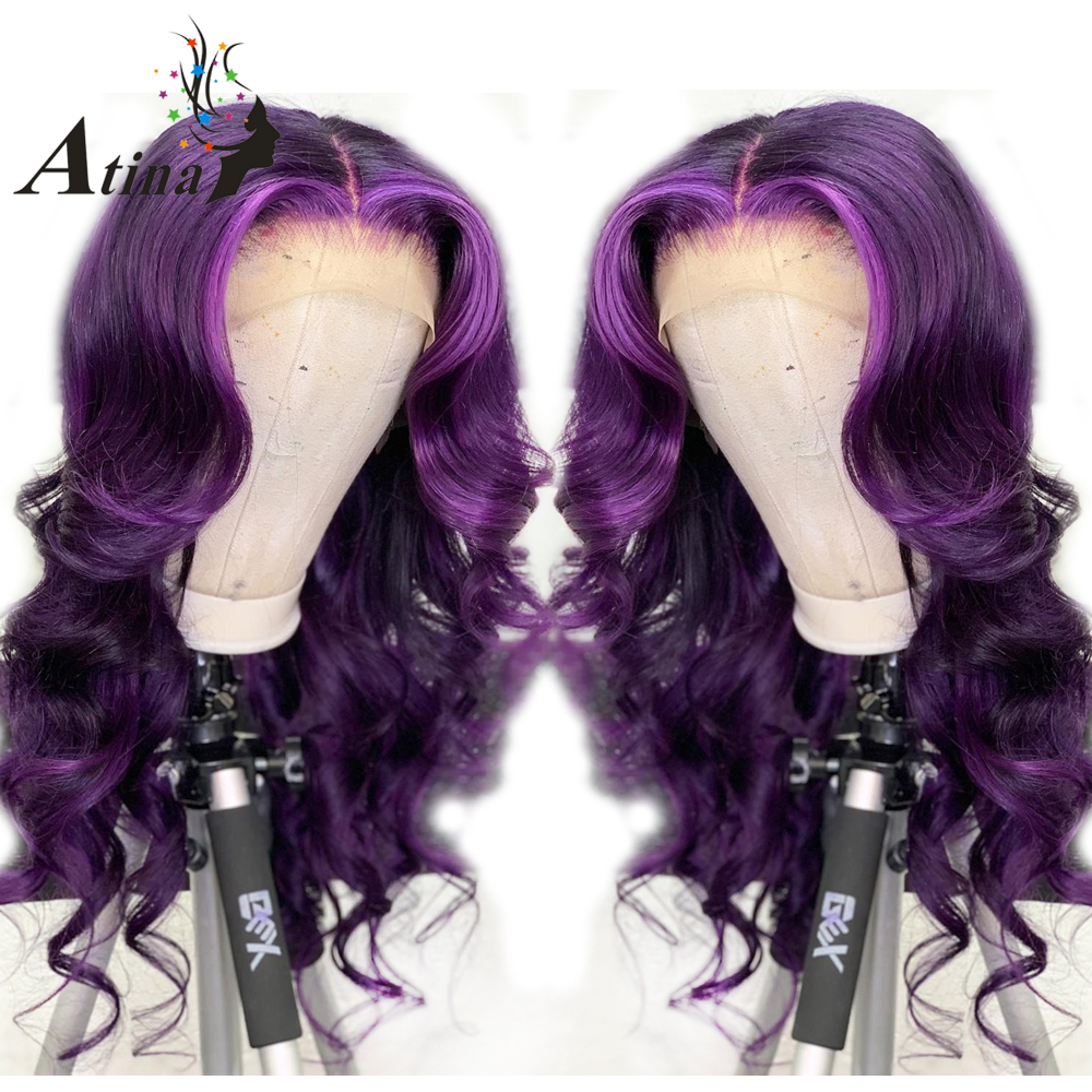 Colored Wigs Ombre Wavy 360 Lace Front Purple Human Hair Closure Wigs Pre Plucked With Baby Hair Brazilian Remy Hair Women Atina
